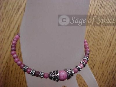 Love Goddess Bracelet Aphrodite in Rhodonite made by an Energy Psychic to promote clairaudeince