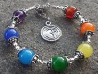 7 Chakra  Bracelet OM Charm in candy colors!  All Sterling Silver 925