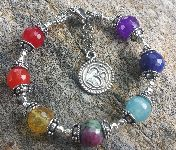 7 Chakra Bracelet Om Charm Sterling Siver with Ruby Zoisite