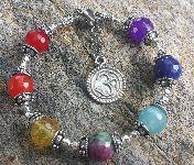 Seven Chakra Bracelet Om Charm Sterling Siver 7