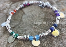 7 Chakra Bracelet with silver coins Gypsy Bohemian Sterling Silver 925
