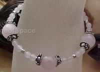 Heart Chakra Bracelet in Sterling Silver 925 & Rose Quartz Crystal