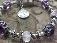 Kunzite Infinity Bracelet with Amethyst Quartz Crystal - Third Eye Chakra Charm Bracelet