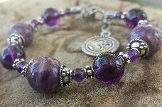 Third Eye Chakra Charm Bracelet OM Charm Sterling Silver 925 Charoite Amethyst Quartz Crystal