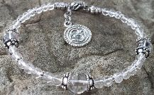 Crown Chakra Bracelet OM charm Sterling Silver 925 and clear quartz crystal