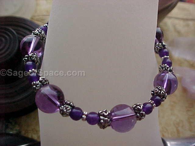 Amethyst Quartz Crystal Bracelet made to your size; Reiki Energy Healing for the Crown and Third Eye Chakra