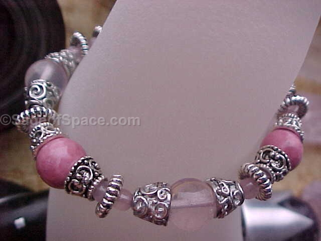 Genie Bracelet in Pink Rose Quartz Crystal, Rhodonite, custom made to your size
