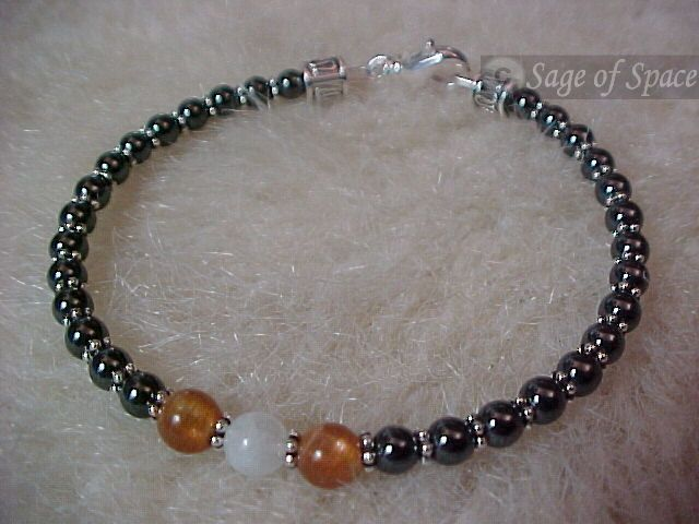 $30 - Protection Bracelet made in your size - E-Z Paypal checkout! Rainbow Moonstone, Sunstone, Hematite; Wiccans, Witches, Pagans and everyone else!