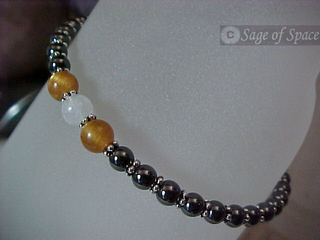 Sunstone Moonstone Protection Bracelet in Rainbow Moonstone, Sunstaone, Hematite - Made to your size!