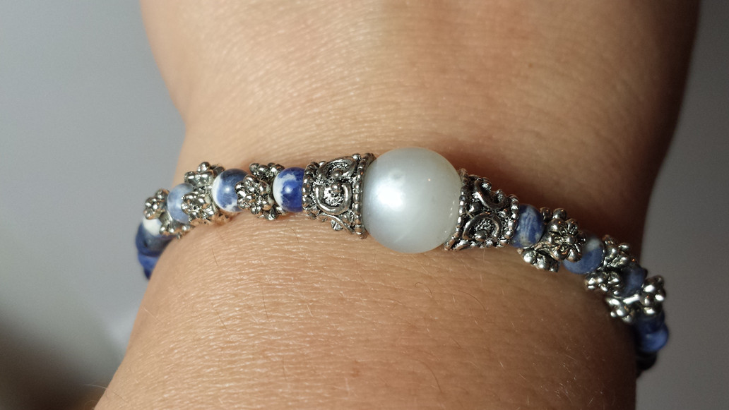 Hecate Goddess Bracelet for $30 made in your size!  Rainbow Moonstone with FLASH! and Sodalite.