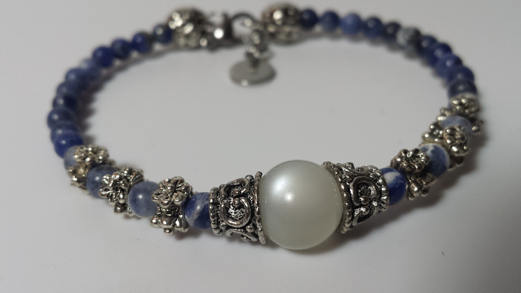 Goddess Hecate Bracelet in Rainbow Mooonstone and Sodalite for $30, made to your size!