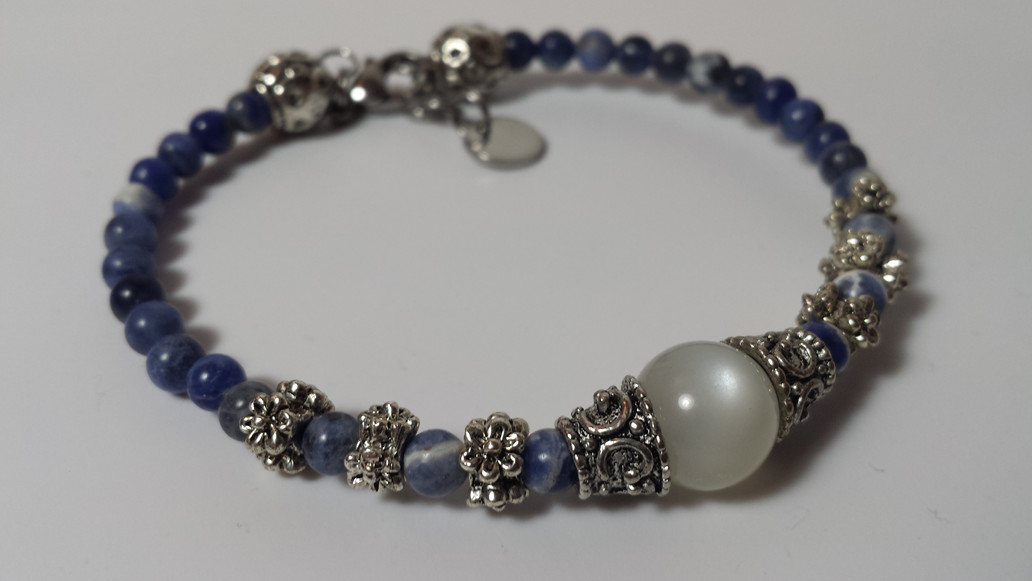 Hecate Bracelet, Goddess of Witchcraft in Rainbow Moonstone & Sodalite for $30! Triple Goddess Bracelet may also be used as a wish bracelet!