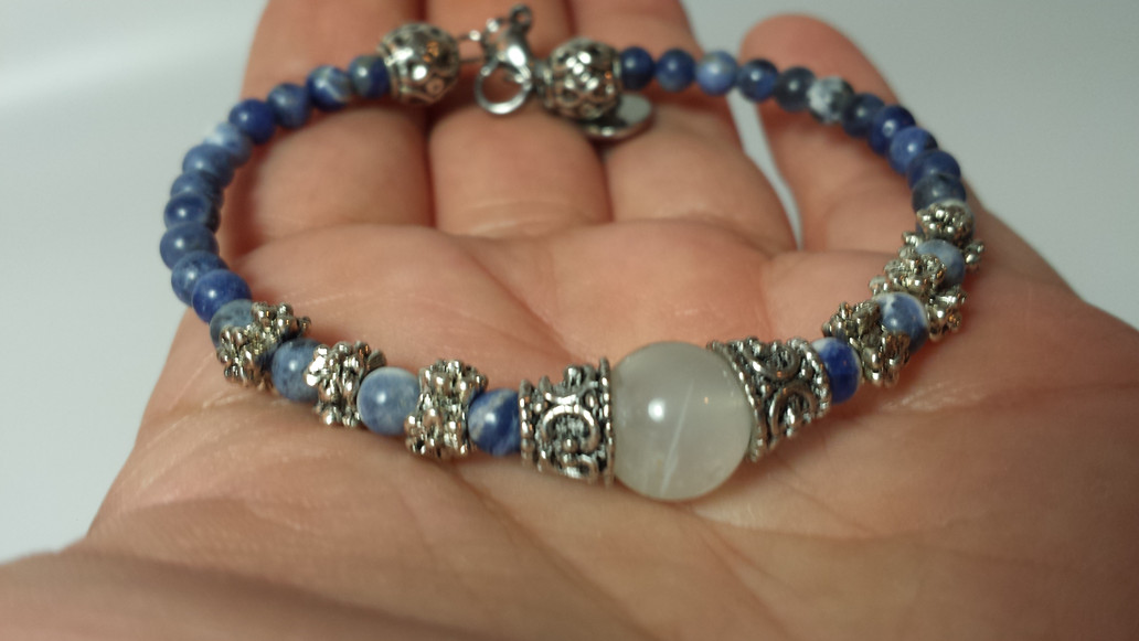 Hecate Witch Bracelet in Rainbow Moonstone, handcrafted by an Energy Psychic