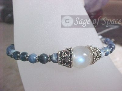 Moon Goddess Bracelet in Rainbow Moonstone for wishing!  Wish Bracelet with Sodalite handcrafted by an Energy Psychic