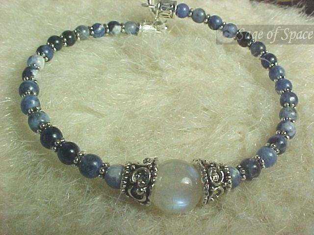 Wish Bracelet in Rainbow Moonstone and Sodalite.  Moon Goddess Bracelet for protection.  Great gift for Wiccans, Witches, Pagans!