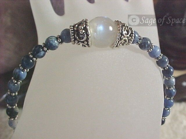 Rainbow Moonstone Wish Bracelet for Witches, Wiccans, Pagans - Moon Goddess Bracelet for Protection