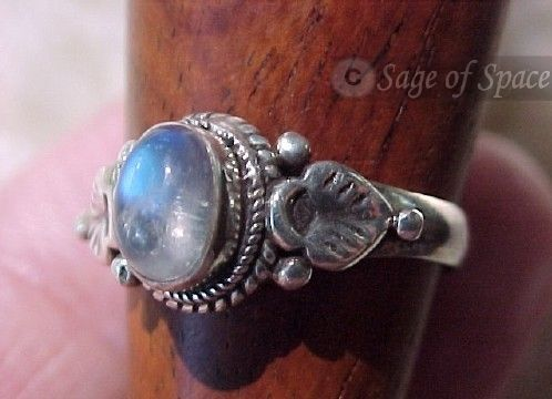 Triple Goddess Ring in Rainbow Moonstone for Wiccan Witch Pagan WISHING RING with unlimited wishes: Magickal Jewelry