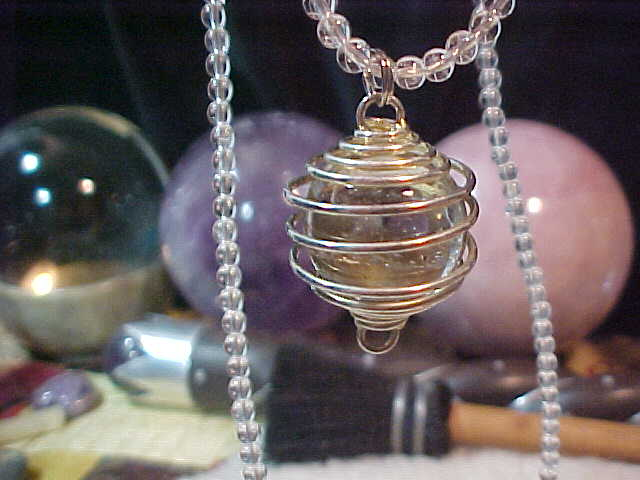 Crystal Ball Necklace in Clear Quartz handcrafted by an Energy Psychic for $60