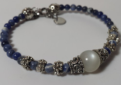 Hecate Bracelet in Rainbow Moonstone for Wiccans, Witches, Pagans, Wishing, & Wishes