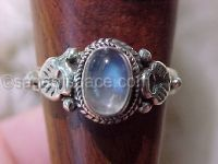Rainbow Moonstone Triple Goddess Ring in Sterling Silver 925|Witch Craft Wish Ring