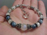 Rainbow Moonstone Infinity Bracelet - Wiccan Triple Goddess