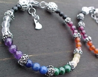 7 Chakra Bracelet made to your size; for chakra activation and balancing.
