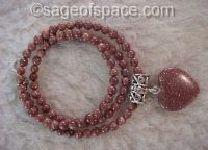 Goldstone Energy Generator Heart Necklace for chakras Chi Kundalini Psychic Energy